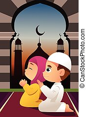 modlący się, meczet, dzieci, muslim