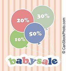 modny, barwny, dyskon, niemowlę, baloons, sprzedaż