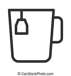 modny, herbata, kreska, styl, filiżanka, sieć, ikona, concept., biały, odizolowany, ilustracja, tło, bag., prosty, apps, ruchomy, wektor, gorące jadło
