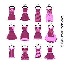 modny, zbiór, elegancki, wektor, dziewczyna, stroje