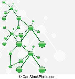 molekuła, zielony, srebro, tło