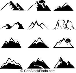 monochromia, ikony, wektor, góra