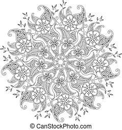 monochromia, liście, mandala, mendie, kwiaty