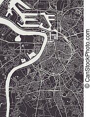 monochromia, wektor, plan, antwerpia, miasto, ilustracja, mapa, szczegółowy