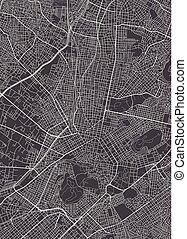 monochromia, wektor, plan, miasto, ilustracja, ateny, mapa, szczegółowy