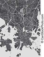 monochromia, wektor, plan, miasto, ilustracja, mapa, szczegółowy, helsinki