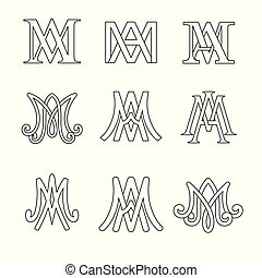 monogram, katolik, set., symbolika, ave, religijny, signs., maria