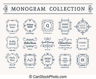 monogram, rocznik wina, wektor, komplet