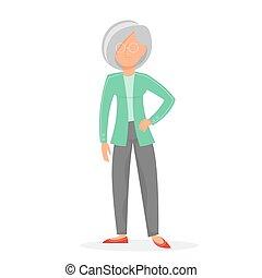 monokle, stary, osoba, kobieta, senior, standing.