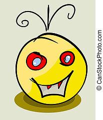 monster., eps, ilustracja, twarz, wektor, żółty, 8
