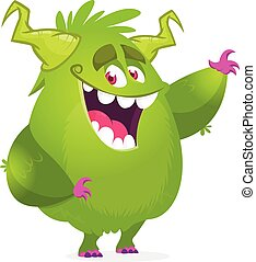 monster., halloween, zielony potwór, wektor, rysunek, podniecony, ilustracja, futrzany