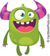 monster., odizolowany, ilustracja, wektor, zielony, rogaty, rysunek