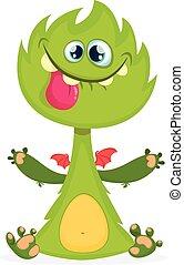 monster., potwór, kartka pocztowa, waving., halloween, odizolowany, rogaty, wektor, projektować, portret ilustracji, zielony, rysunek, śmiech