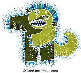 monster., sprytny, creature., wektor, kaprys, halloween, ludożerca, litera, ilustracja, fictitious, zielony, gniewny, chłodny