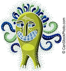 monster., sprytny, creature., wektor, kaprys, halloween, ludożerca, litera, ilustracja, fictitious, zielony, chłodny