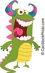 monster., sprytny, halloween, ilustracja, wektor, zielony, rysunek