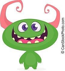 monster., wektor, ilustracja, zabawny, rysunek