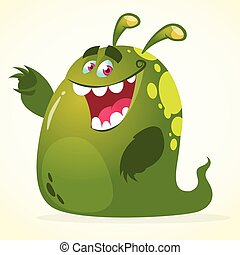 monster., wektor, zielony, rysunek, kropelka
