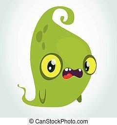 monster., zabawny, halloween, ilustracja, wektor, zielony, rysunek