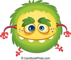 monster., zabawny, przelotny, halloween, ilustracja, wektor, zielony, rysunek