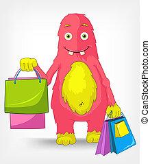 monster., zabawny, shopping.