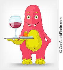 monster., zabawny, waiter.