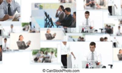 montaż, ludzie, pracujący, handlowy