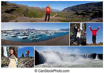 montaż, ludzie, styl życia, na wolnym powietrzu, krajobraz, islandia