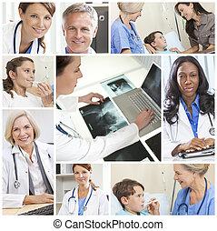 montaż, medyczny, mężczyźni, pacjenci, leczy, szpital, kobiety