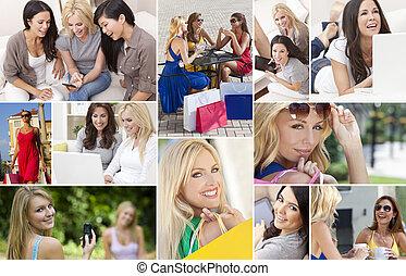 montaż, nowoczesny lifestyle, samica, kobiety