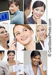 montaż, pomyślny, kobiety, handlowy