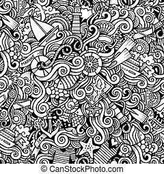 morski, próbka, doodles, marynarka, ręka, rysunek, pociągnięty, seamless