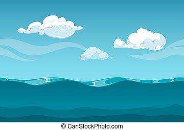morze, niebo, seamless, clouds., woda, gra, komputer, projektować, tło, fale, rysunek, ocean, albo, krajobraz