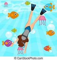 morze, nurek, scuba