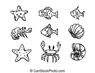 morze, wektor, stworzenia, sztuka, kreska