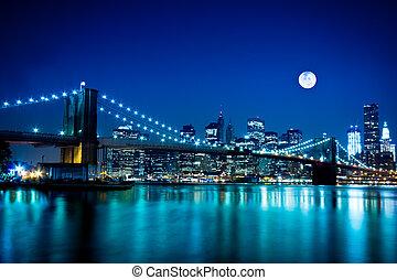 most, brooklyn, miasto, york, nowy