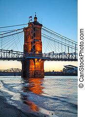 most, cincinnati, a., zawieszenie, angol, roebling