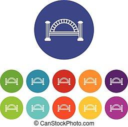 most, komplet, ikony, kolor, metaliczny, wektor