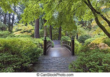 most, księżyc, japoński ogród