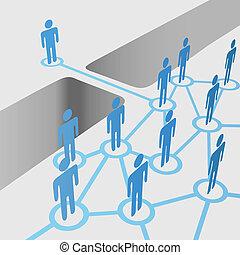 most, wstąpić, sieć, ludzie, połączenie, otwór, połączyć, drużyna