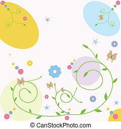 motyl, karta, powitanie, kwiatowy