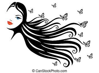 motyl, kobieta
