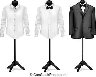 motyl, koszula, mannequins., wektor, czarnoskóry dostosowują, biały, illustration.