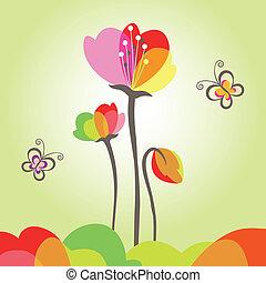 motyl, kwiat, wiosna, barwny