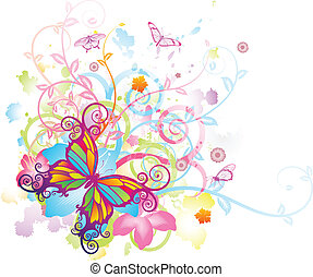 motyl, kwiatowy, abstrakcyjny, tło