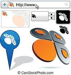 motyl, logo, abstrakcyjny, handlowy, design.
