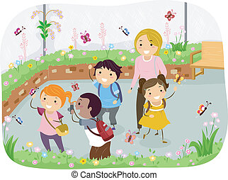 motyl, sztubacy, stickman, ogród, podróż