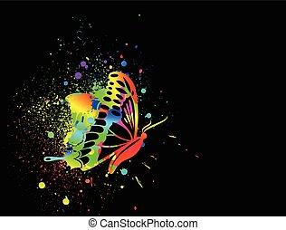 motyl, tęcza, tło., wektor, czarny atrament