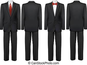 motyl, tie., koszula, czarnoskóry, vector., garnitur, biały