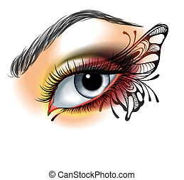 motyl, ustalać, oko, do góry